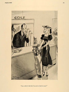 1937 Print Henry Boltinoff Housewife Golfer Store Clerk ORIGINAL HISTORIC ESQ1