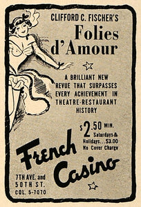 1936 Ad French Casino New York Clifford Fischer Nude - ORIGINAL ADVERTISING ESQ1