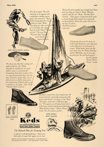 1936 Ad Keds Shoes Rubber Soles Tennis Sailing Sailboat - ORIGINAL ESQ2