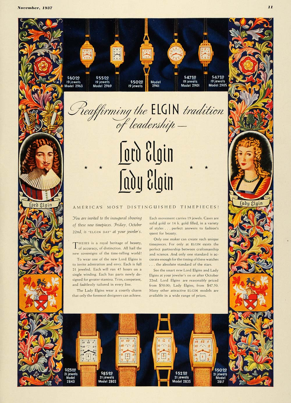 1937 Ad Lord Lady Elgin Watches 19 & 21Jewels Models - ORIGINAL ADVERTISING ESQ2