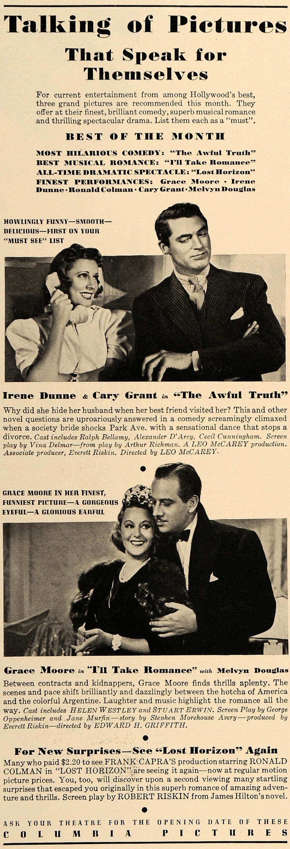 1937 Ad Columbia Pictures Irene Dunne Cary Grant Truth - ORIGINAL ESQ2