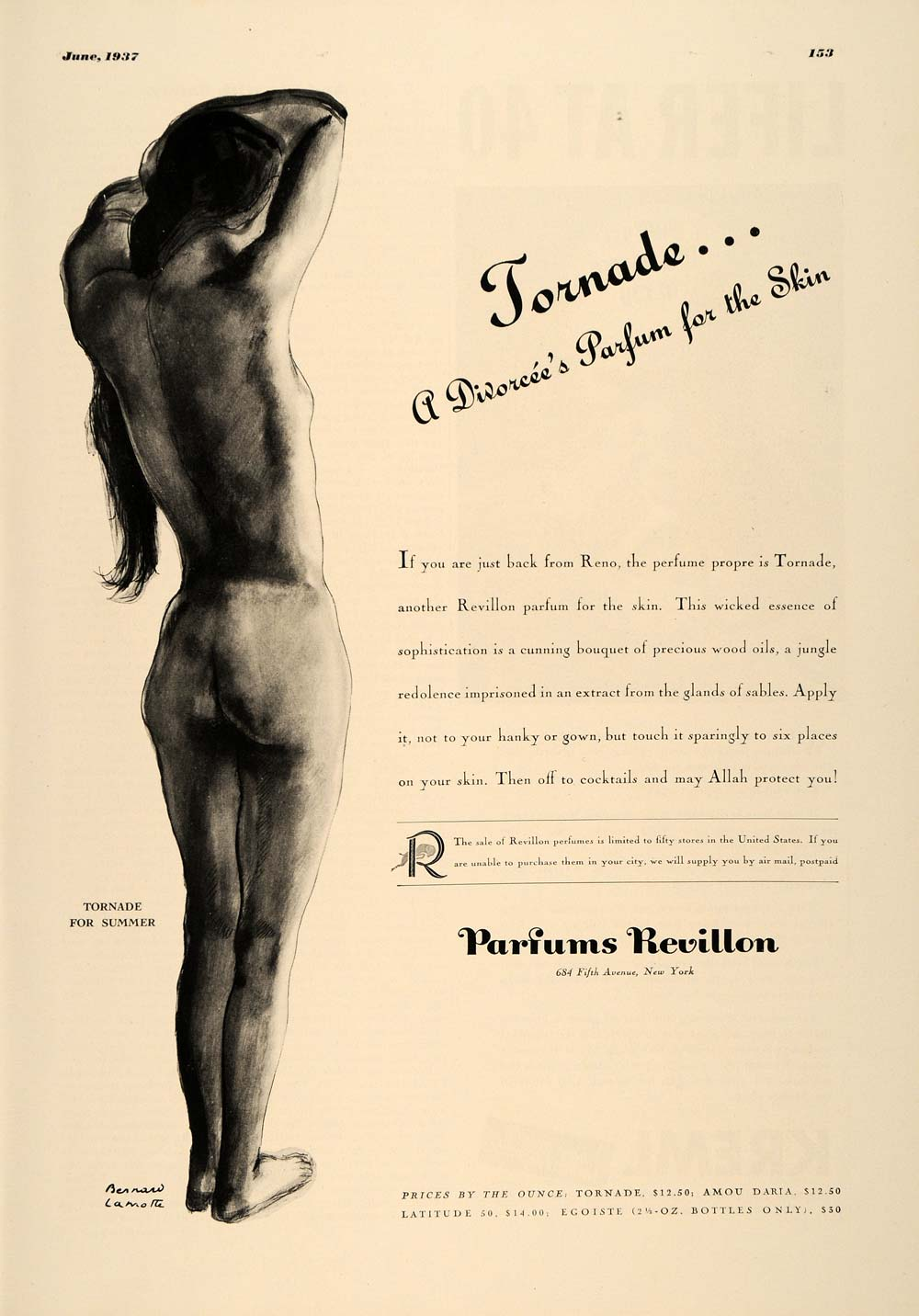 1937 Ad Tornade Perfume Parfums Skin Revillon Nude Body - ORIGINAL ESQ2