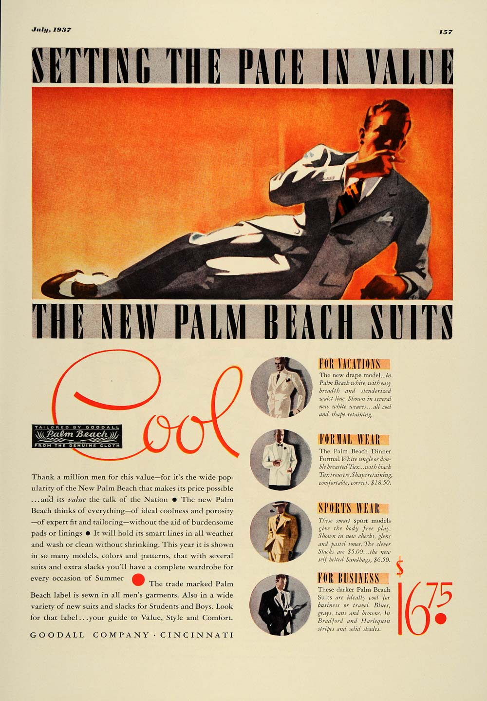 1937 Ad Goodall Palm Beach Men's Fashion Suits Slacks - ORIGINAL ESQ2