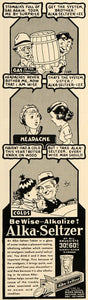 1937 Ad Alka-Seltzer Stomach Headache Cold Relief Comic - ORIGINAL ESQ2