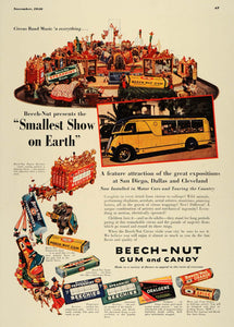 1936 Ad Beech-Nut Pepsin Gum Candy Varieties Circus - ORIGINAL ADVERTISING ESQ3