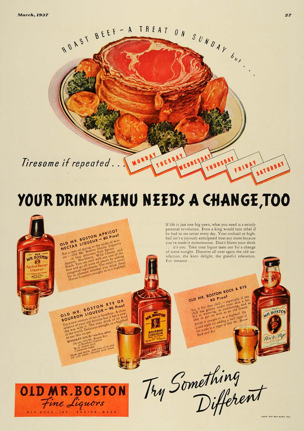 1937 Ad Old Mr. Boston Fine Liquors Apricot Rye Bourbon - ORIGINAL ESQ3
