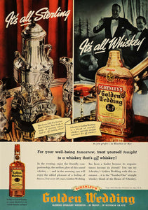1937 Ad Schenleys Golden Wedding Whiskey Bourbon Rye - ORIGINAL ADVERTISING ESQ3