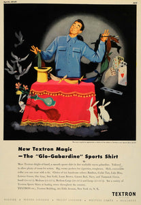 1949 Ad Textron Magic Rabbit Hat Card Trick Sports Shirt Clothing Fashion ESQ4