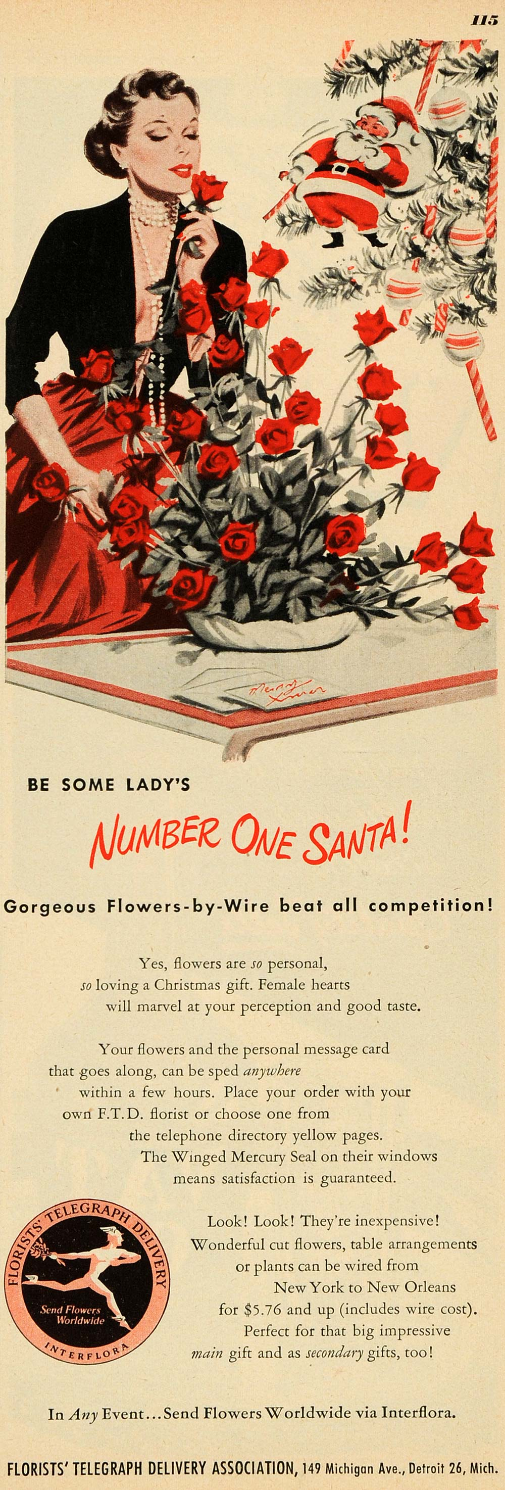 1949 Ad Interflora Florist Telegraph Delivery Christmas - ORIGINAL ESQ4