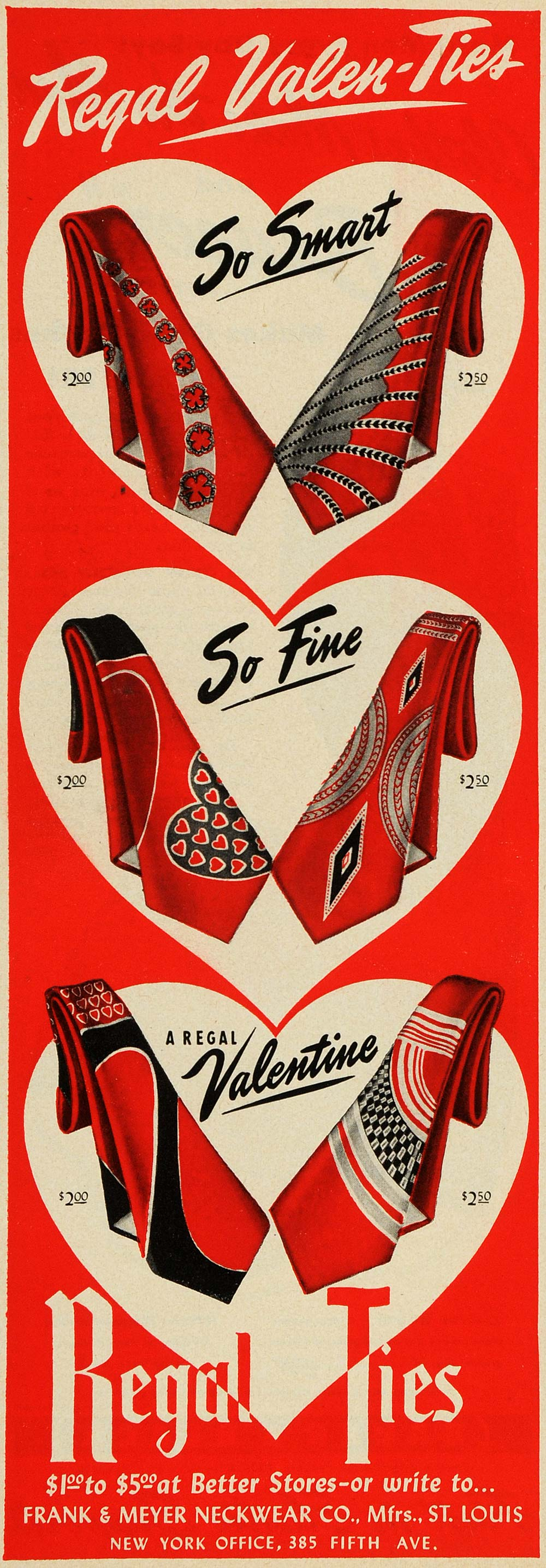 1949 Ad Regal Valentines Day Ties Frank Meyer Neckwear - ORIGINAL ESQ4