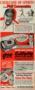 1952 Ad Gillette Safety Razor Blue Blade P. Cavarretta - ORIGINAL ESQ4