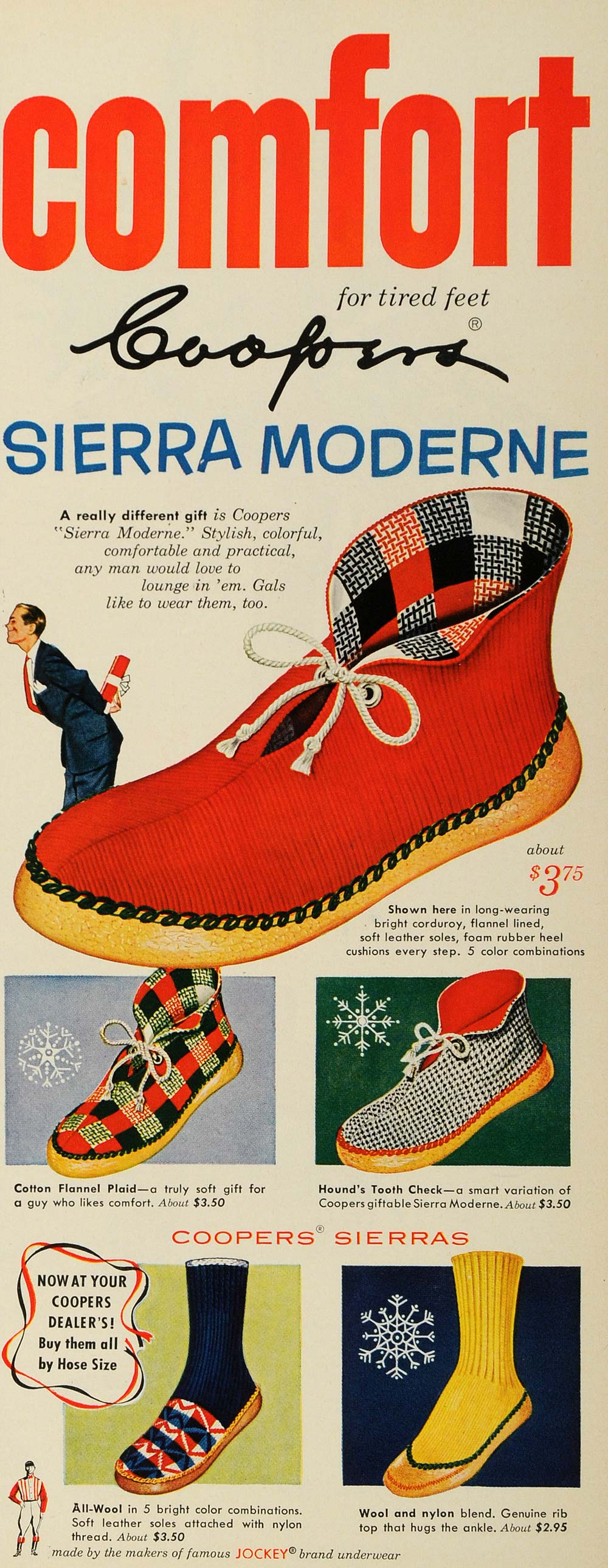 1952 Ad Coopers Sierra Moderne Slippers Socks Footwear - ORIGINAL ESQ4 3e17aac98e2f
