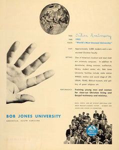 1952 Ad Bob Jones University Silver Anniversary WMUU - ORIGINAL ADVERTISING ET1