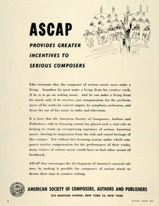 1952 Ad American Society Composers Authors Publishers - ORIGINAL ADVERTISING ET1