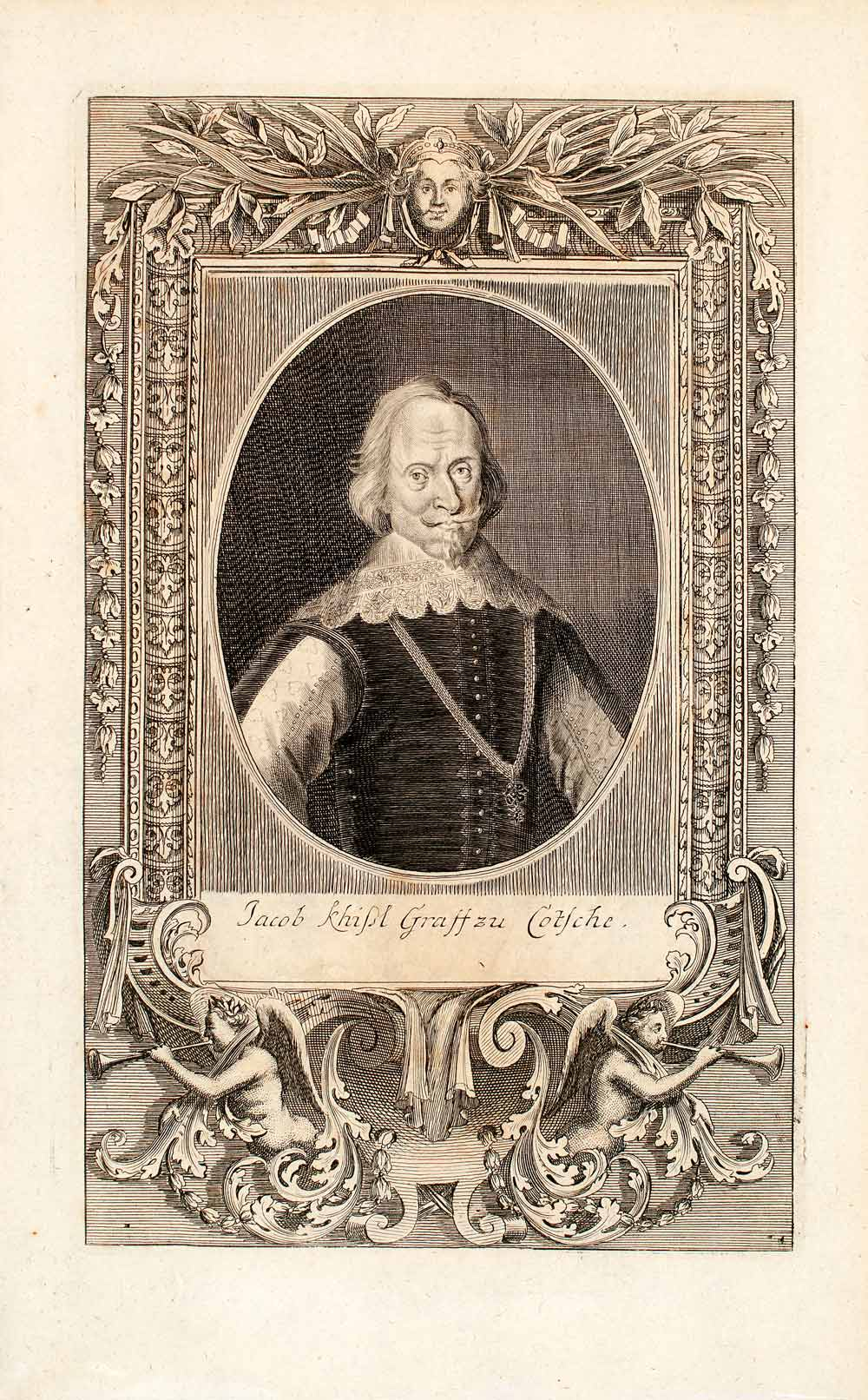 1722 Copper Engraving Portrait Jacob Khisl Graf Zu Cotsche European EUM4
