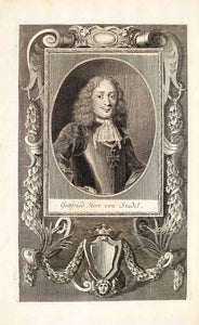 1722 Copper Engraving Portrait Gottfried Herr Von Stade European Nobility EUM4