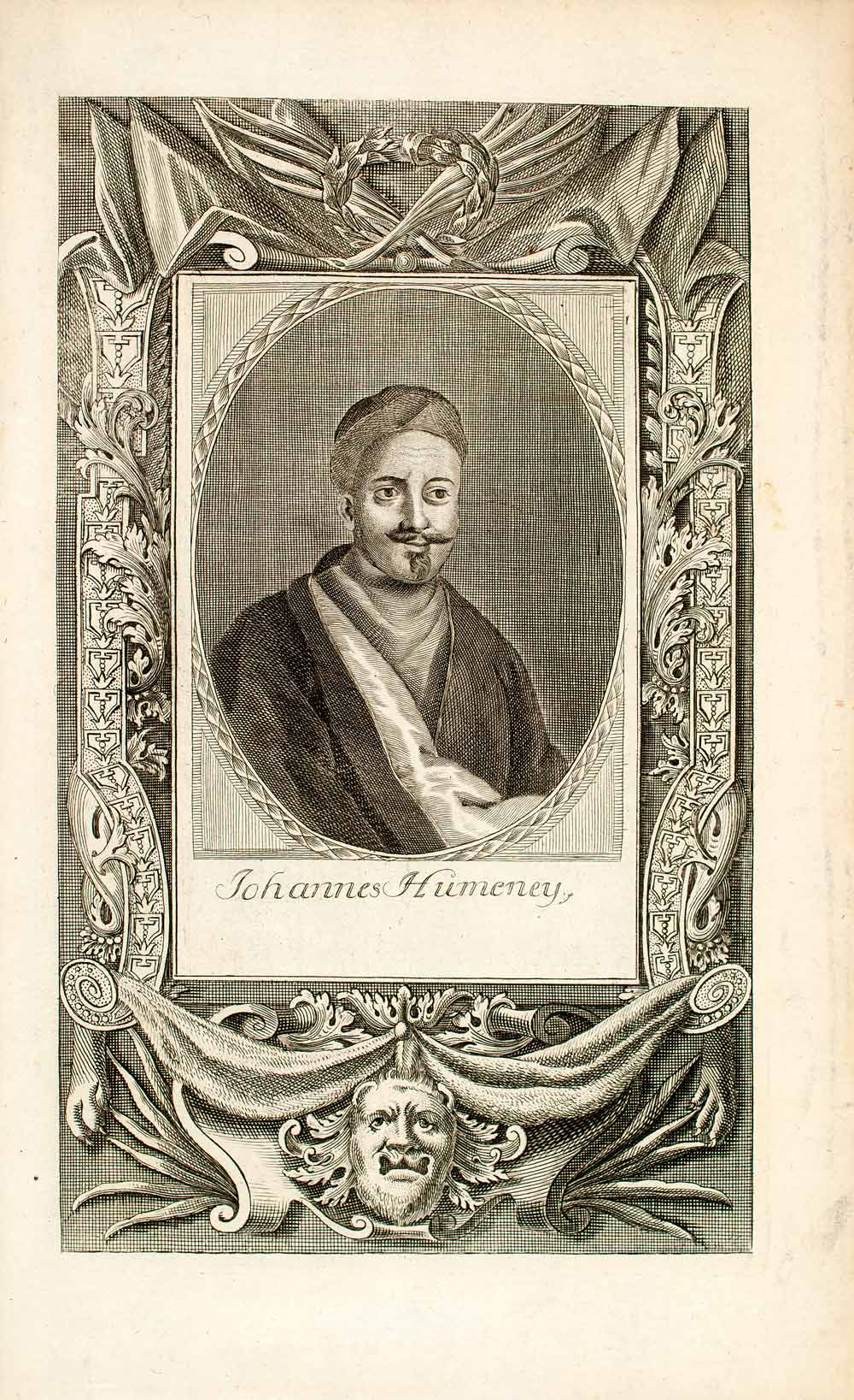 1722 Copper Engraving Portrait Johannes Humeney Hommonai Habsburg Empire EUM5