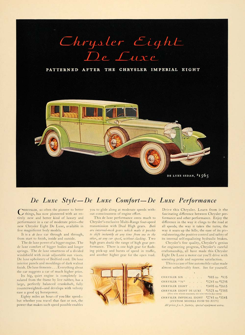 1931 Ad Chrysler Eight De Luxe Sedan Automobile - ORIGINAL ADVERTISING F1A