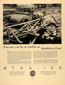 1931 Ad Aetna-ize Insurance Huckleberry Finn - ORIGINAL ADVERTISING F1A
