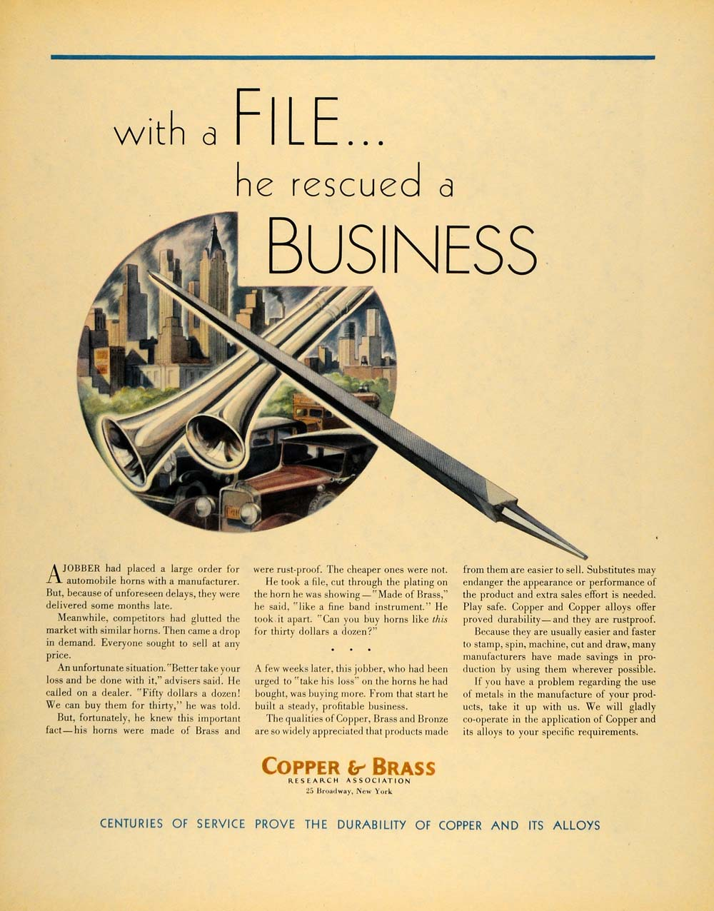 1931 Ad Copper & Brass Alloys 25 Broadway New York - ORIGINAL ADVERTISING F1A