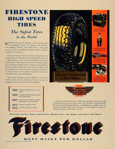 1931 Ad Firestone Tire Rubber Car Services Spark Plugs - ORIGINAL F1A