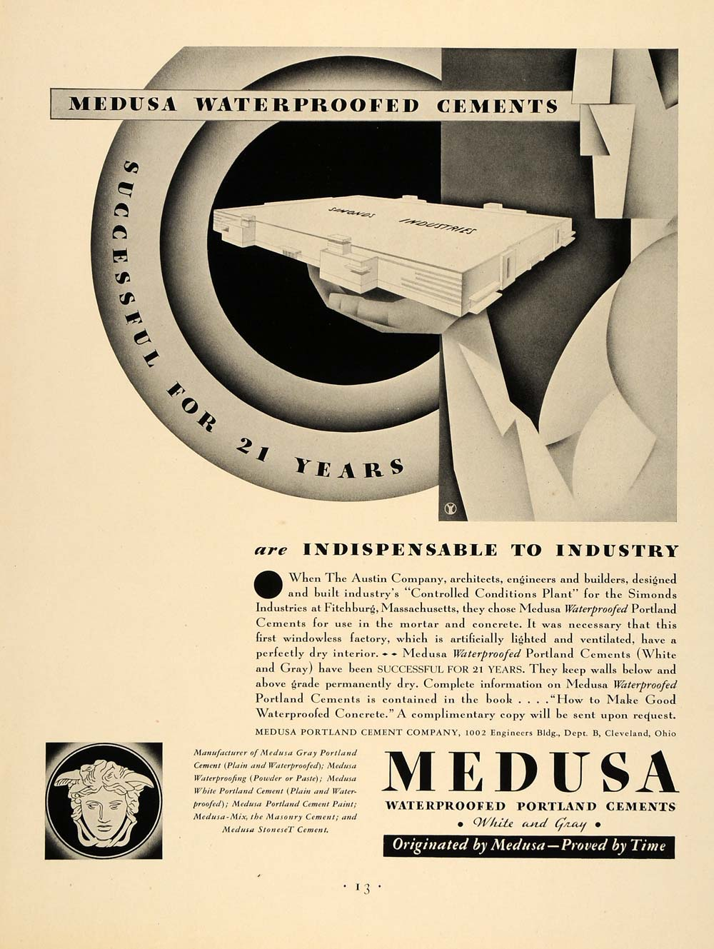 1931 Ad Medusa Waterproofed Portland Cements Concrete - ORIGINAL ADVERTISING F1A