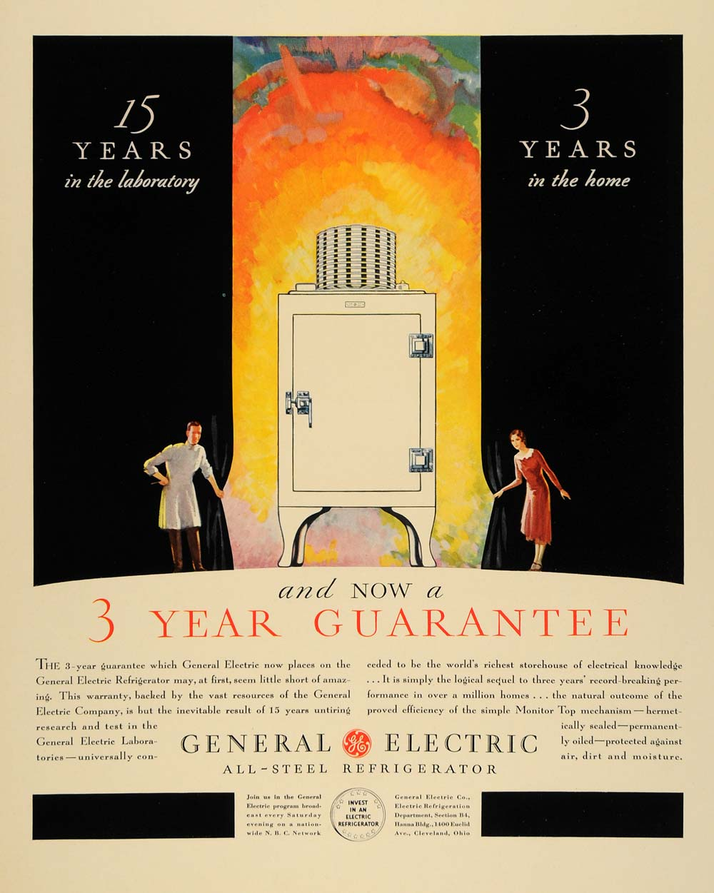 1931 Ad General Electric Co Inventors 3 Years Guarantee Steel Refrigerator F1A