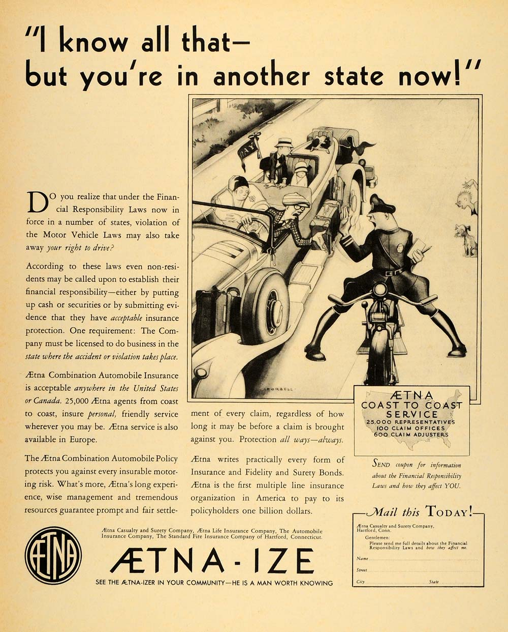 1931 Ad Aetna Insurance Illustration Charles Forbell - ORIGINAL ADVERTISING F1A