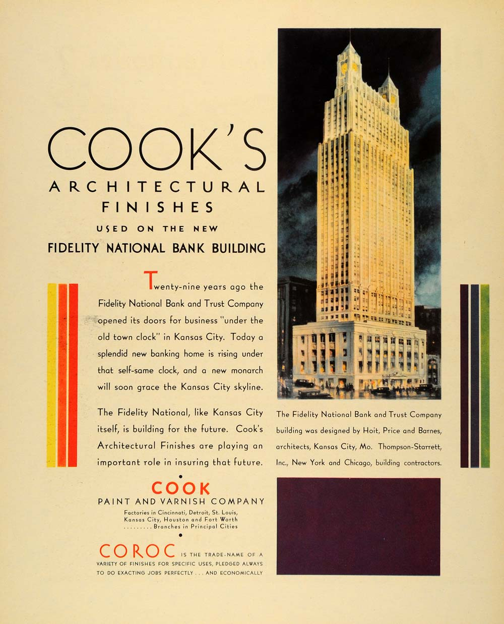 1931 Ad Cook's Architectural Finishes Fidelity Bank - ORIGINAL ADVERTISING  F1A