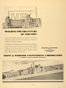 1931 Ad Stone Webster Engineering Building Construction - ORIGINAL F1A