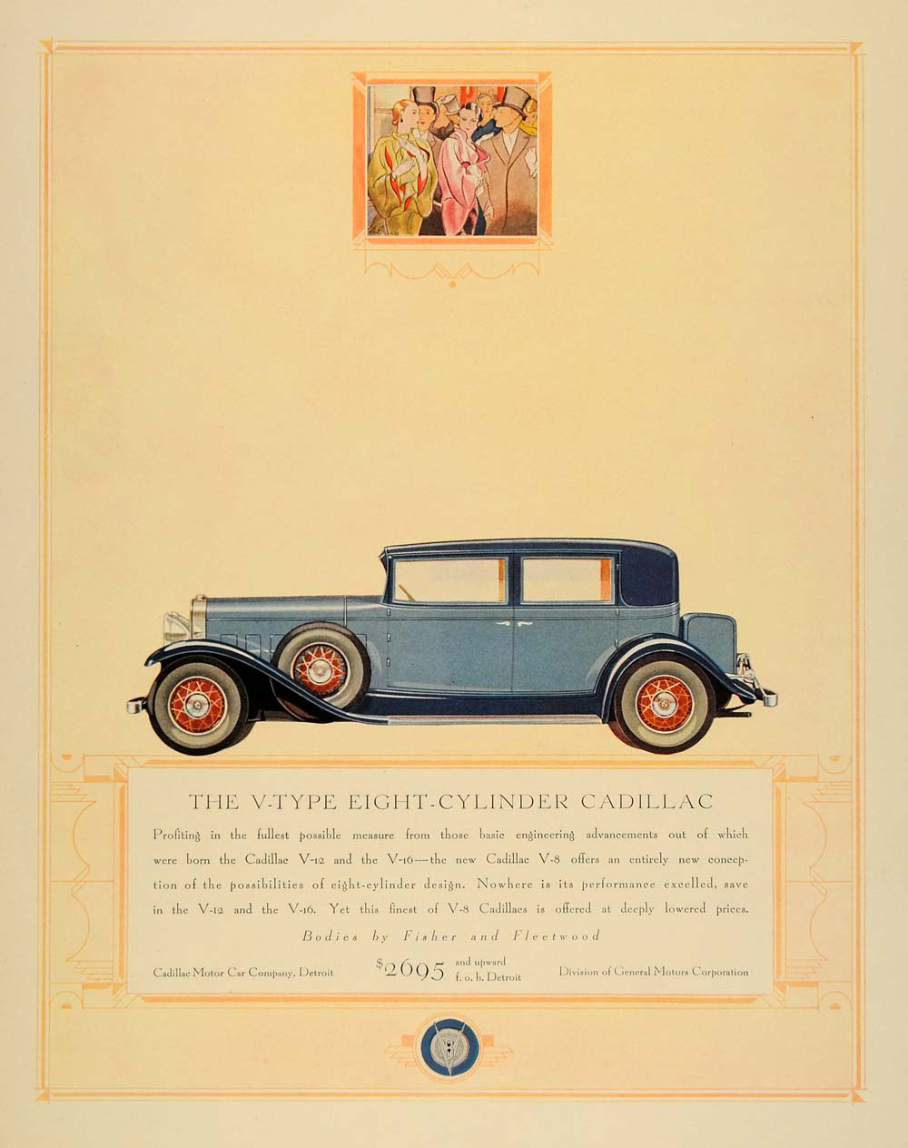 1931 Ad V-Type Eight Cylinder Cadillac Fisher Body - ORIGINAL ADVERTISING F1A