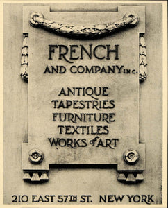 1931 Ad French & Co Antiques Furniture Art Tapestries - ORIGINAL ADVERTISING F1A