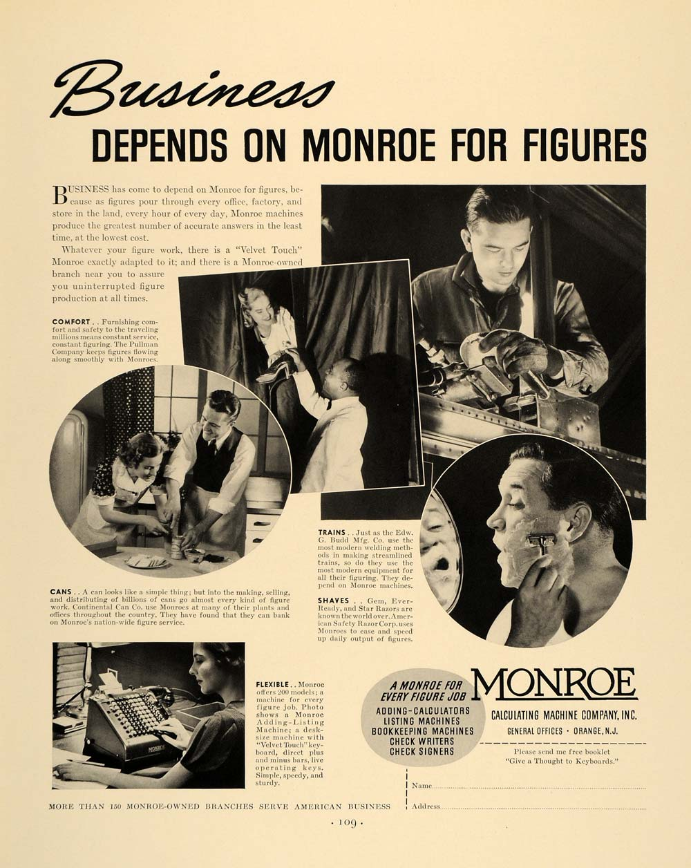 1938 Ad Monroe Calculating Machine Pullman Ever-Ready - ORIGINAL ADVERTISING F2A
