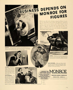 1938 Ad Monroe Calculating Machine United Air Lines - ORIGINAL ADVERTISING F2A