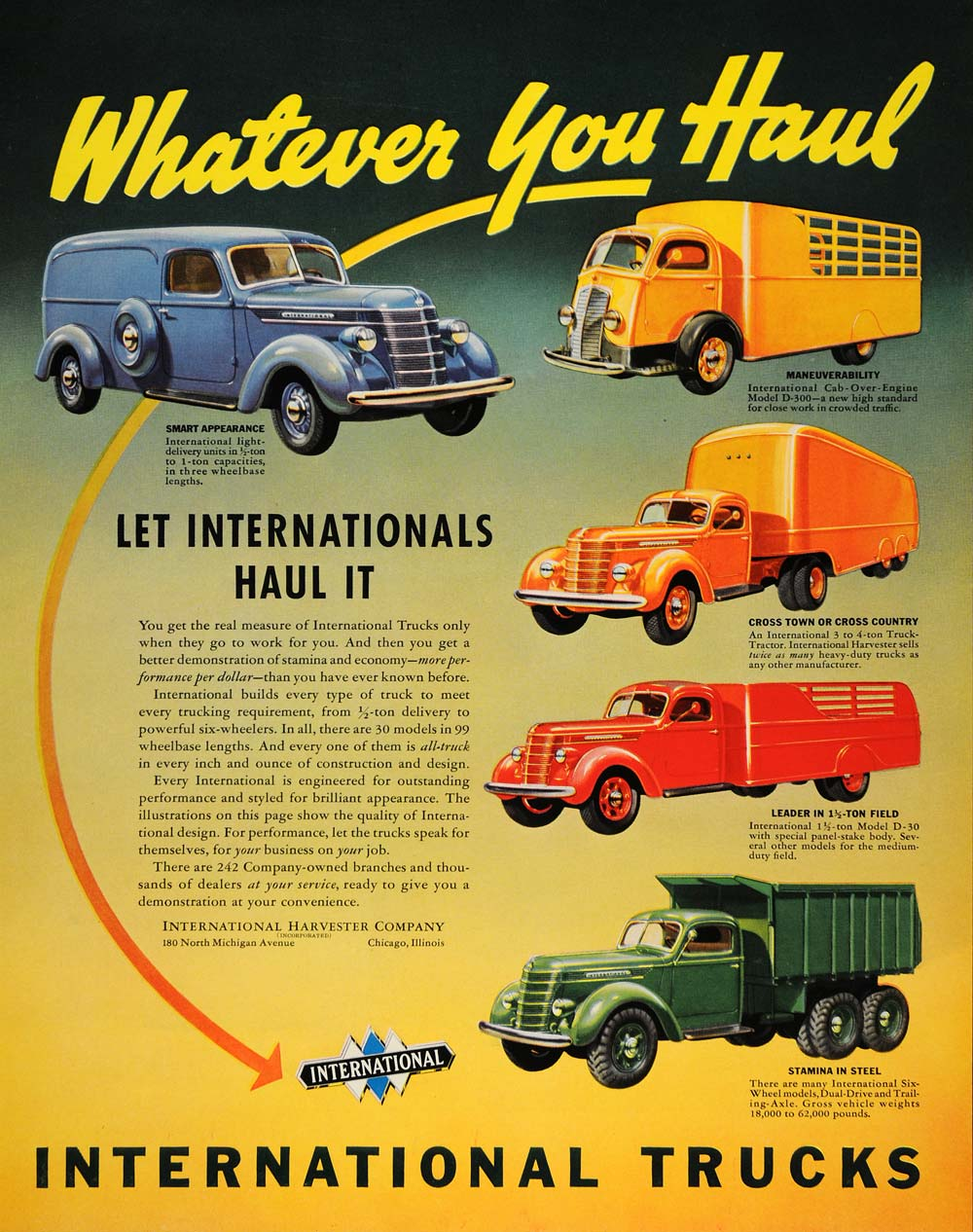 1938 Ad International Trucks Tractors Delivery Models - ORIGINAL ADVERTISING F2A