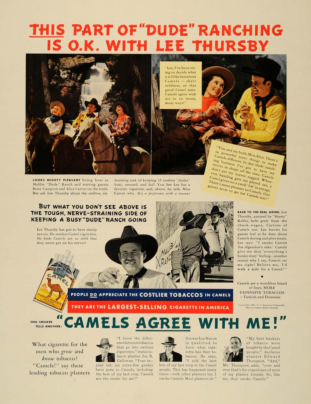 1938 Ad Camel Cigarettes Lee Thursby Alice Carver Smoke - ORIGINAL F2A