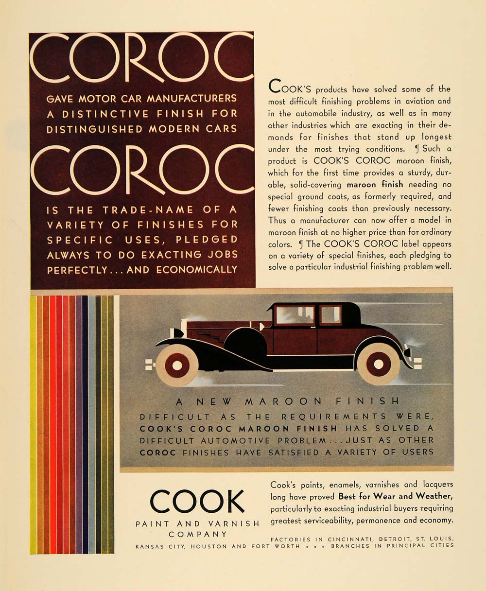 1930 Ad Cook Paint Varnish Coroc Motor Cars Lacquers - ORIGINAL ADVERTISING  F3A