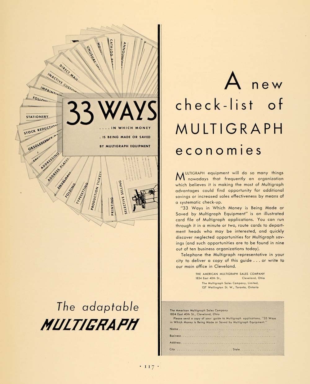 1930 Ad American Multigraph Sales Equiment Cleveland - ORIGINAL ADVERTISING F3A
