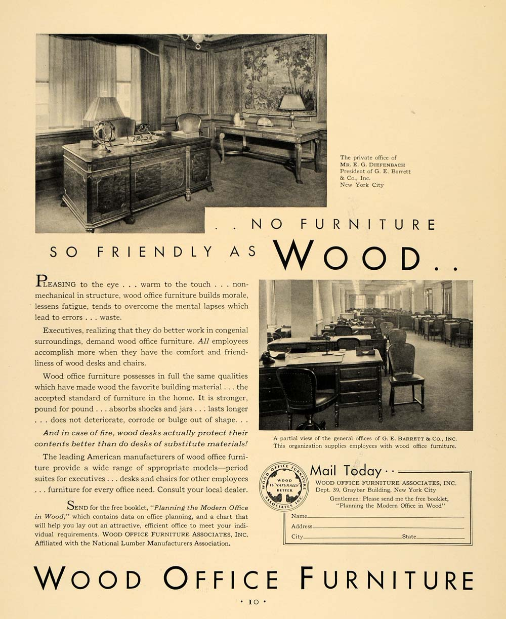 1930 Ad Wood Office Furniture G E Barrett New York - ORIGINAL ADVERTISING F3A