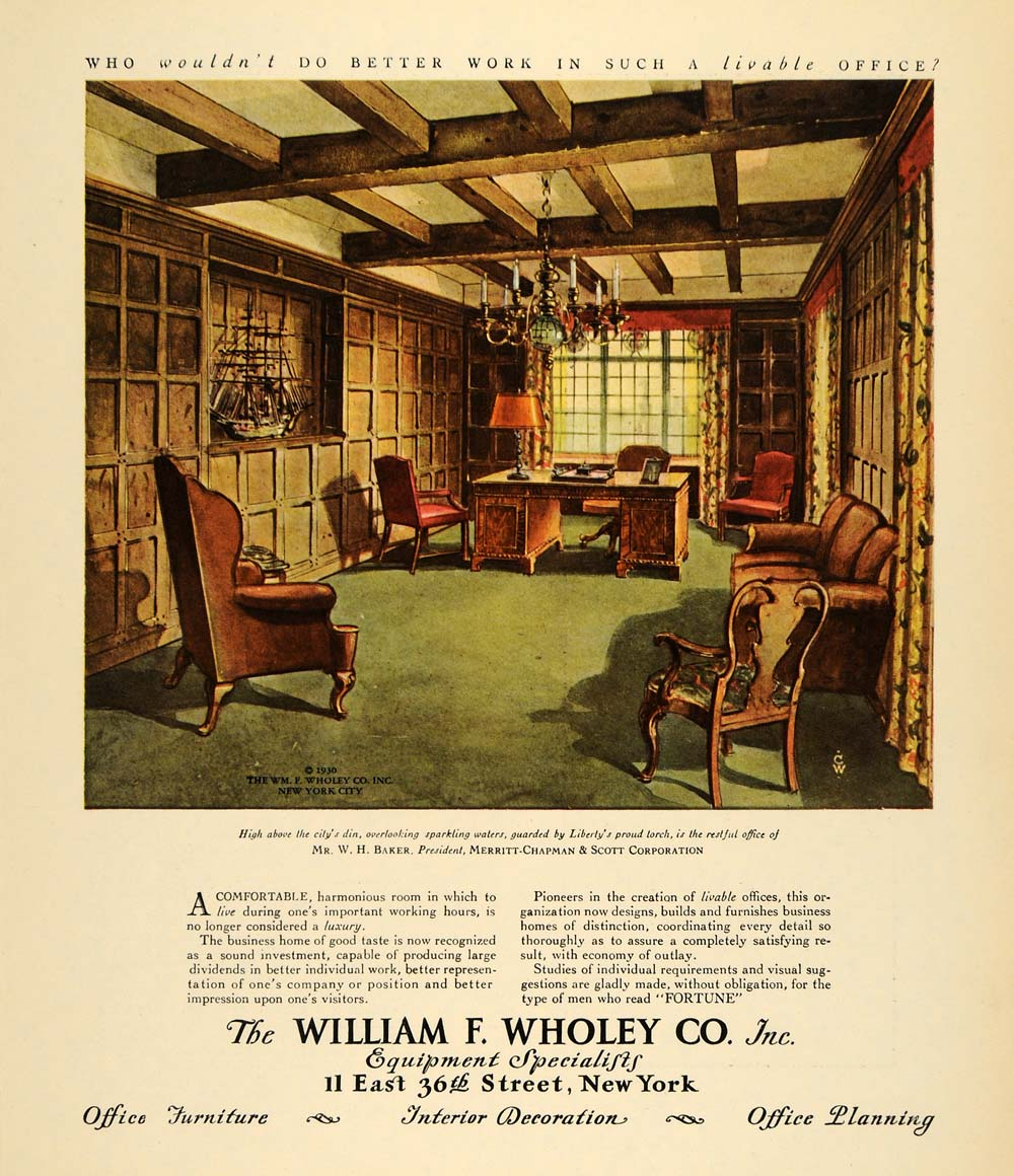 1930 Ad William F Wholey Office Equipment Illustration - ORIGINAL F3A