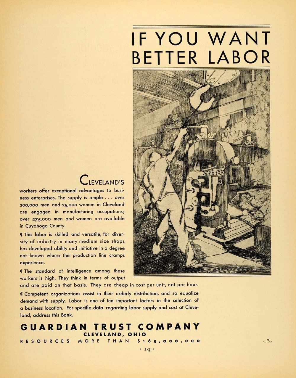 1930 Ad Guardian Trust Cleveland Cuyahoga Labor Ohio - ORIGINAL ADVERTISING F3A
