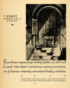 1930 Ad First National Bank Boston Banking Business - ORIGINAL ADVERTISING F3A