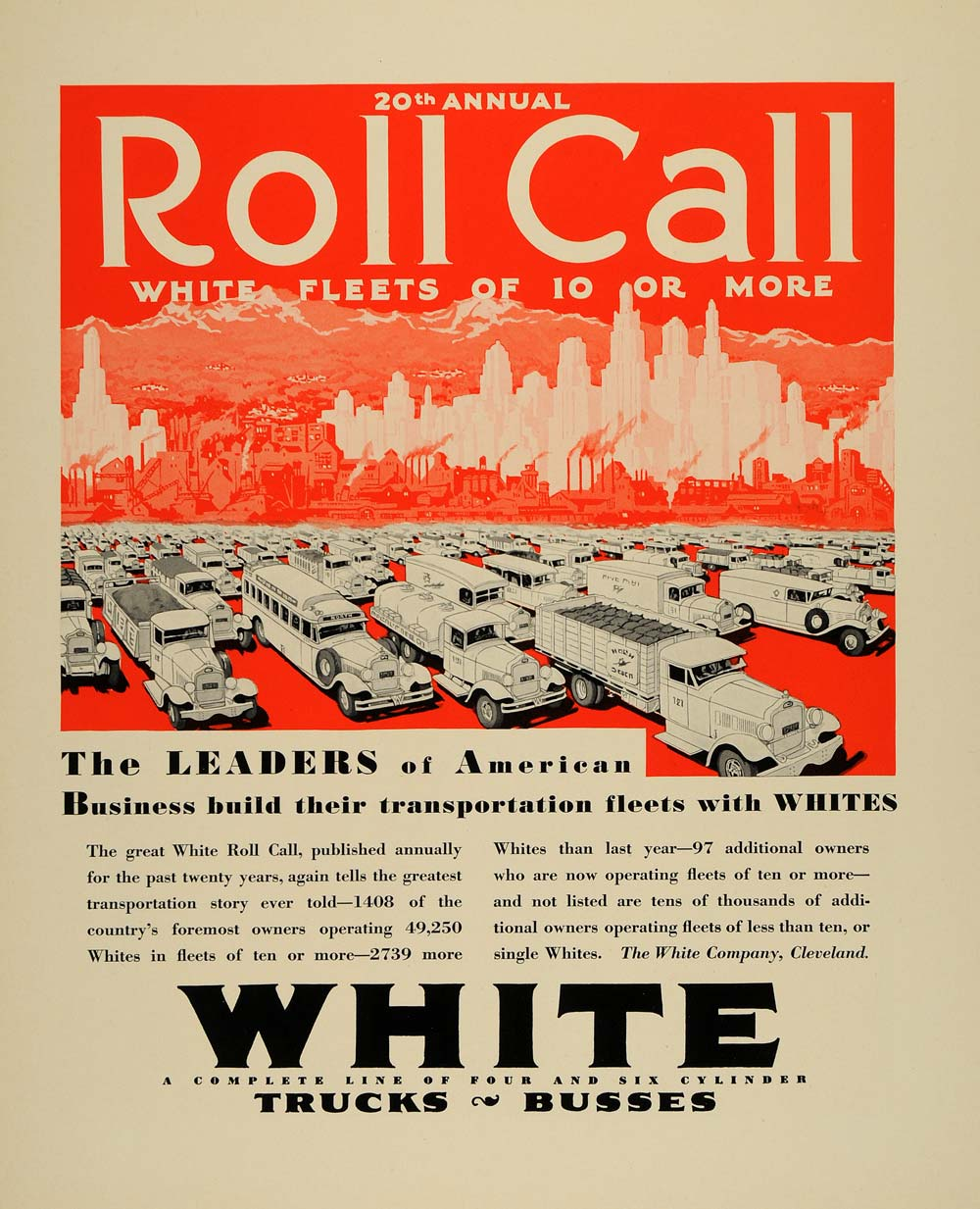 1930 Ad White Trucks Busses Automobiles Roll Call - ORIGINAL ADVERTISING F3A