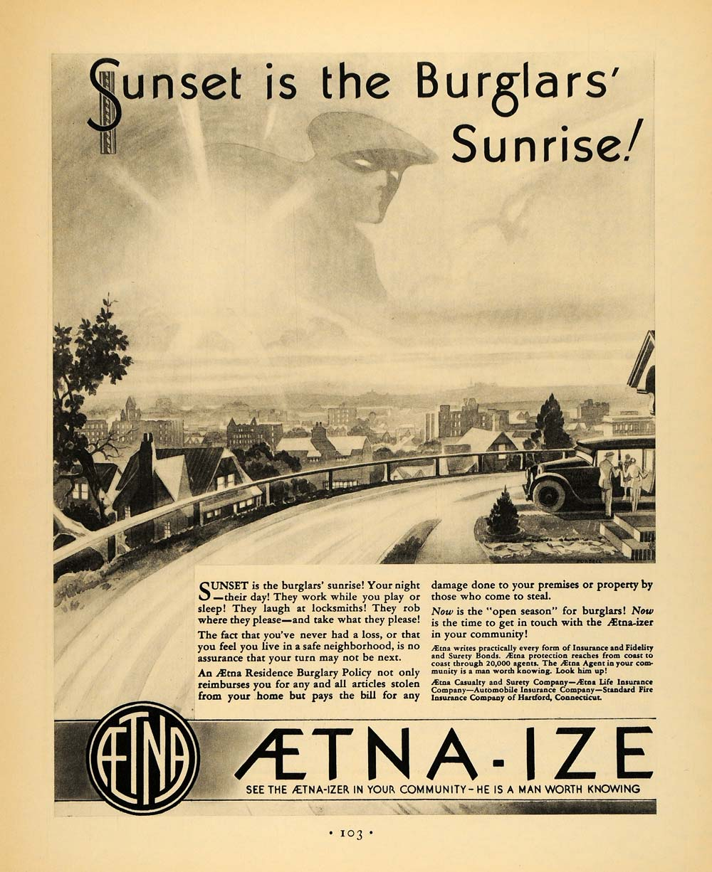 1930 Ad Aetna Insurance Burglar Accident Sunset Sunrise - ORIGINAL F3A
