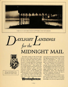 1930 Ad Westinghouse Electric Airport Lighting Mail - ORIGINAL ADVERTISING F3A