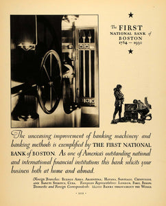 1930 Ad First National Bank Boston Vault Colonial Times - ORIGINAL F3A