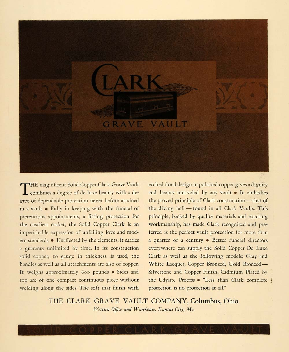 1930 Ad Clark Grave Vault Bronze Copper Columbus Ohio - ORIGINAL ADVERTISING F3A