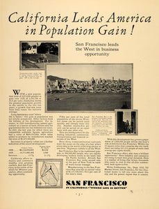 1930 Ad San Francisco Population Chamber Commerce - ORIGINAL ADVERTISING F3A