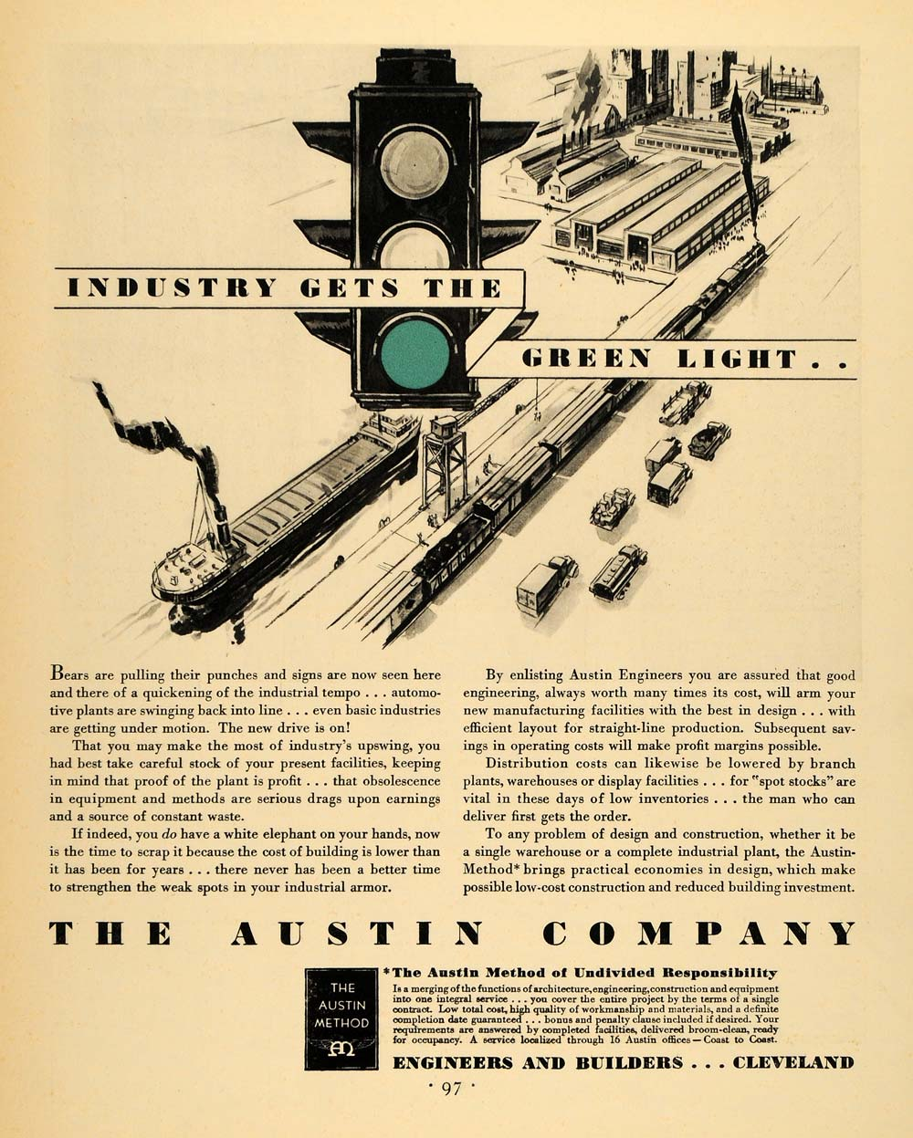 1930 Ad Austin Engineers Builders Stop Light Shipping - ORIGINAL ADVERTISING F3A