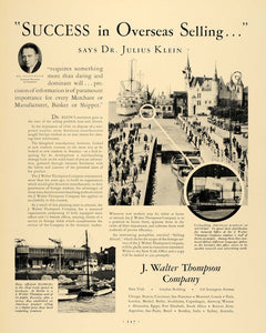 1930 Ad J. Walter Thompson Marketing Dr. Julius Klein - ORIGINAL ADVERTISING F3A